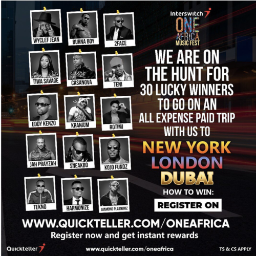 Photo of Win All expense Paid Trip to New York, London & Dubai, With Interswitch One Africa Music Fest 2019